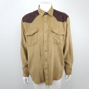 Bit & Bridle Brown Snap Button Down Shirt Large